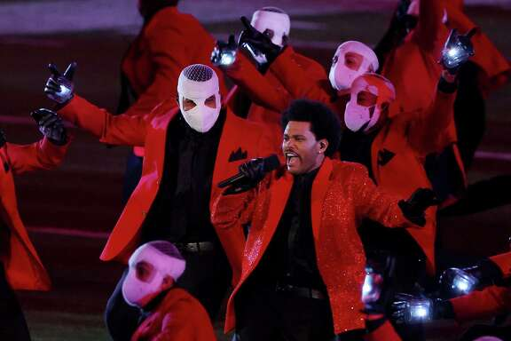 TAMPA, FLORIDA - FEBRUARY 07: The Weeknd performs during the Pepsi Super Bowl LV Halftime Show at Raymond James Stadium on February 07, 2021 in Tampa, Florida.