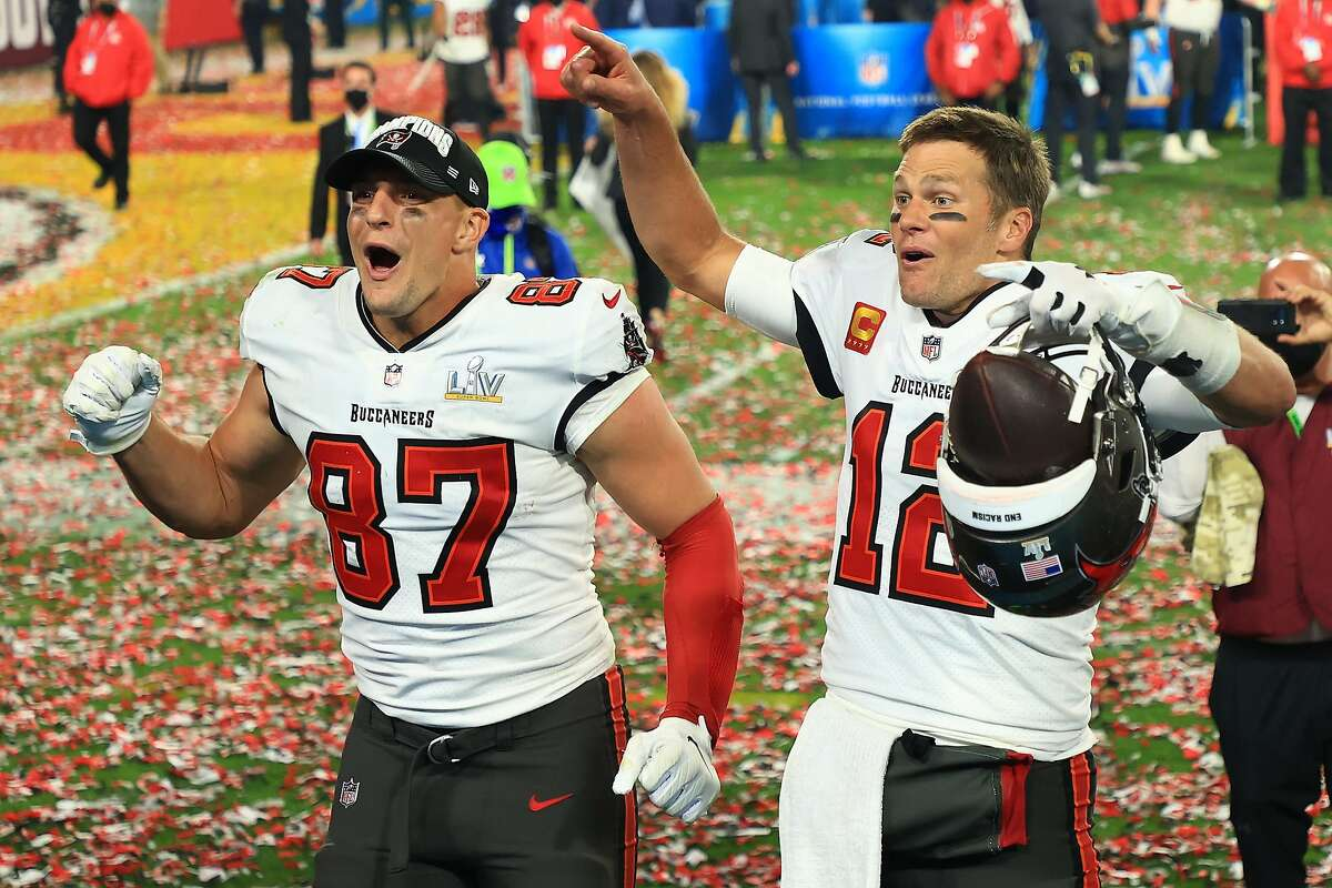 Rob Gronkowski (left) could dance if he wanted to after coming out of retirement to help Tom Brady win a Super Bowl.