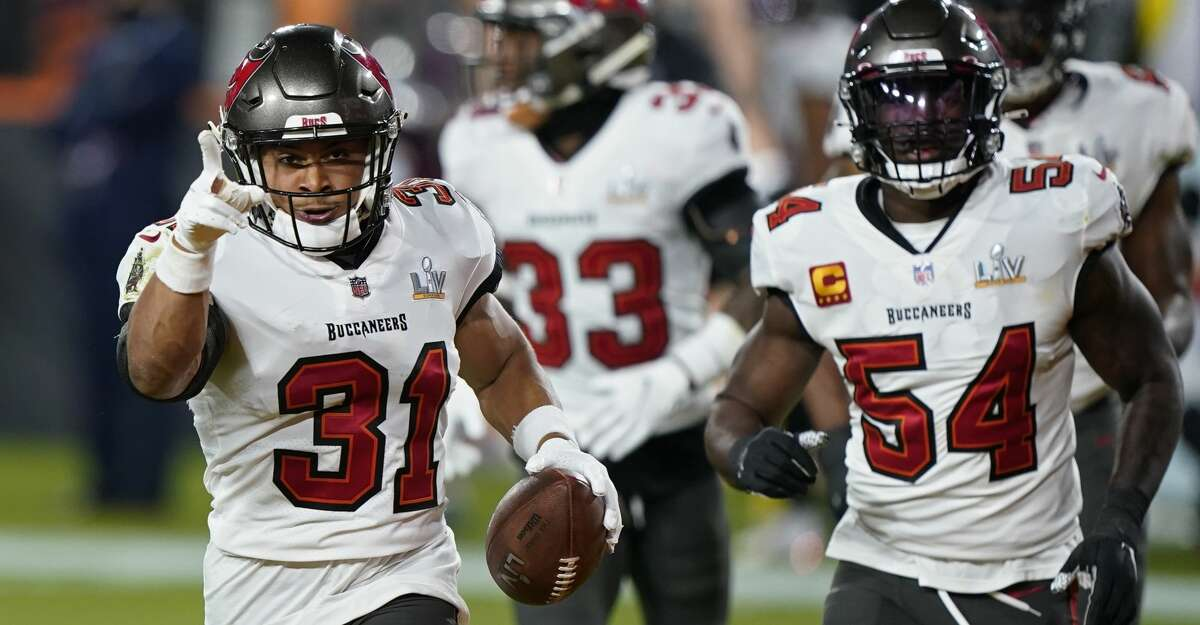 Tampa Bay Buccaneers strong safety Antoine Winfield Jr. celebrates after making an interception against the Kansas City Chiefs during the second half of the NFL Super Bowl 55 football game Sunday, Feb. 7, 2021, in Tampa, Fla. (AP Photo/Mark Humphrey)