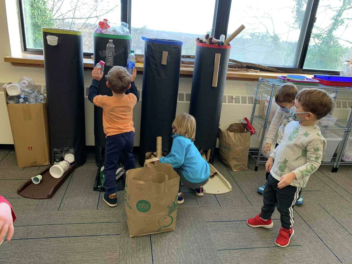 Young students at the Temple Sholom Selma Maisel Nursery School enjoy a new green, eco-friendly makerspace.