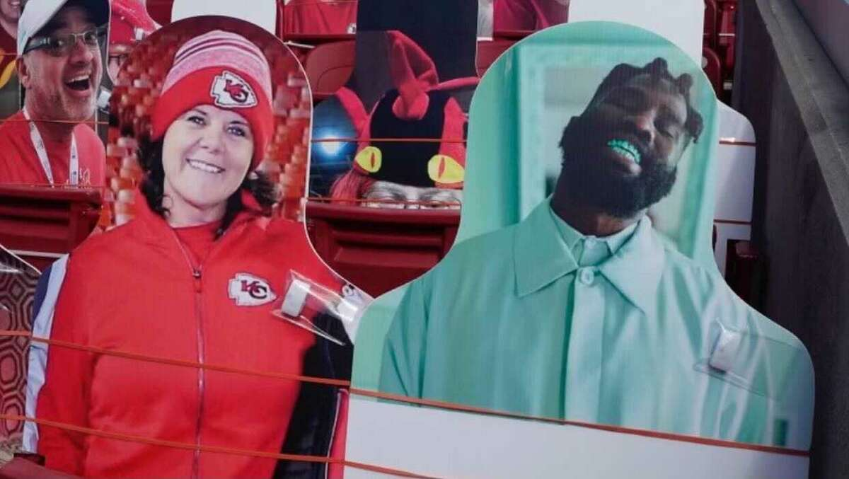 Tobe Nwigwe showed up for Houston with a cardboard cutout at Superbowl LV.