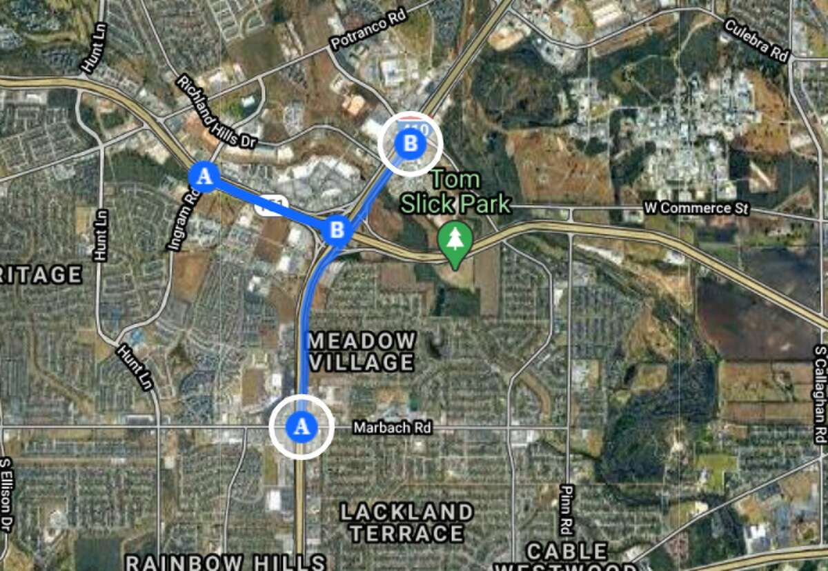 All the main lines of Loop 410 will close from W. Military Drive to Marbach Road for bridge work from 8 p.m. to 5 a.m. Then nearby drivers can expect full closure of eastbound mainlanes from Ingram Road to Loop 410 for continued construction of flyover ramps also from 8 p.m. to 5 a.m.