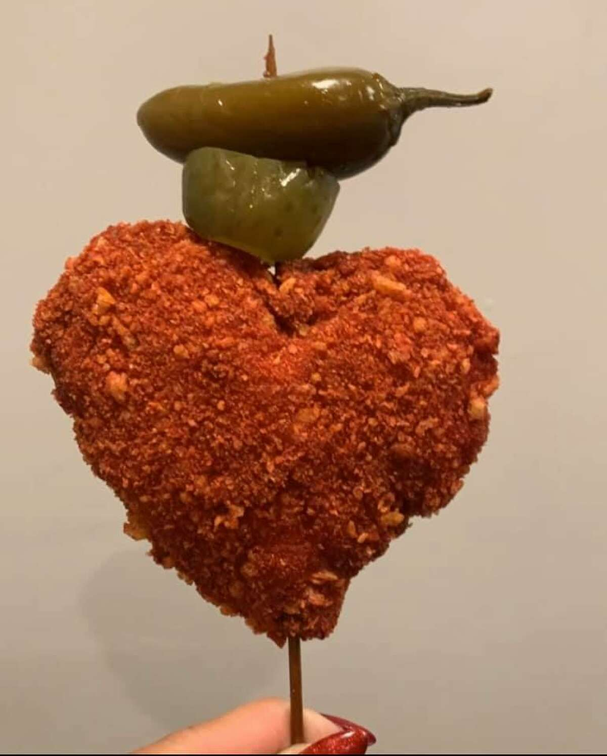Guac It Like I Talk It is selling heart-shaped chicken-on-a-sticks ahead of Valentine's Day.