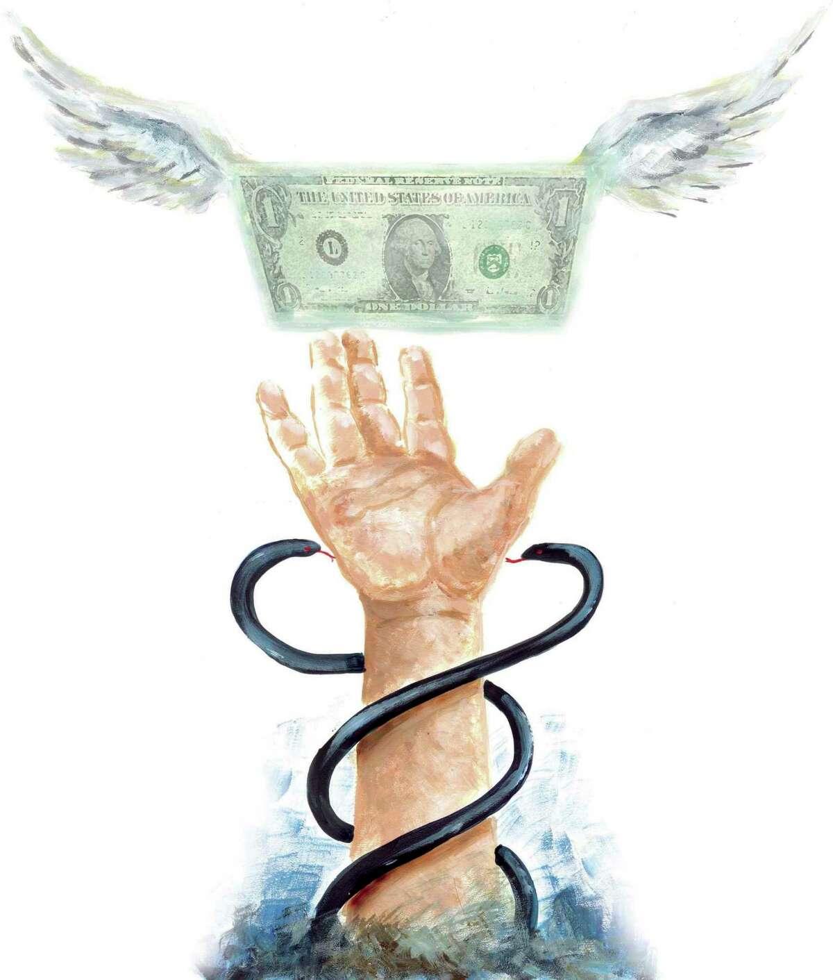300 dpi SW Parra color illustration of money flying away from snake-flanked