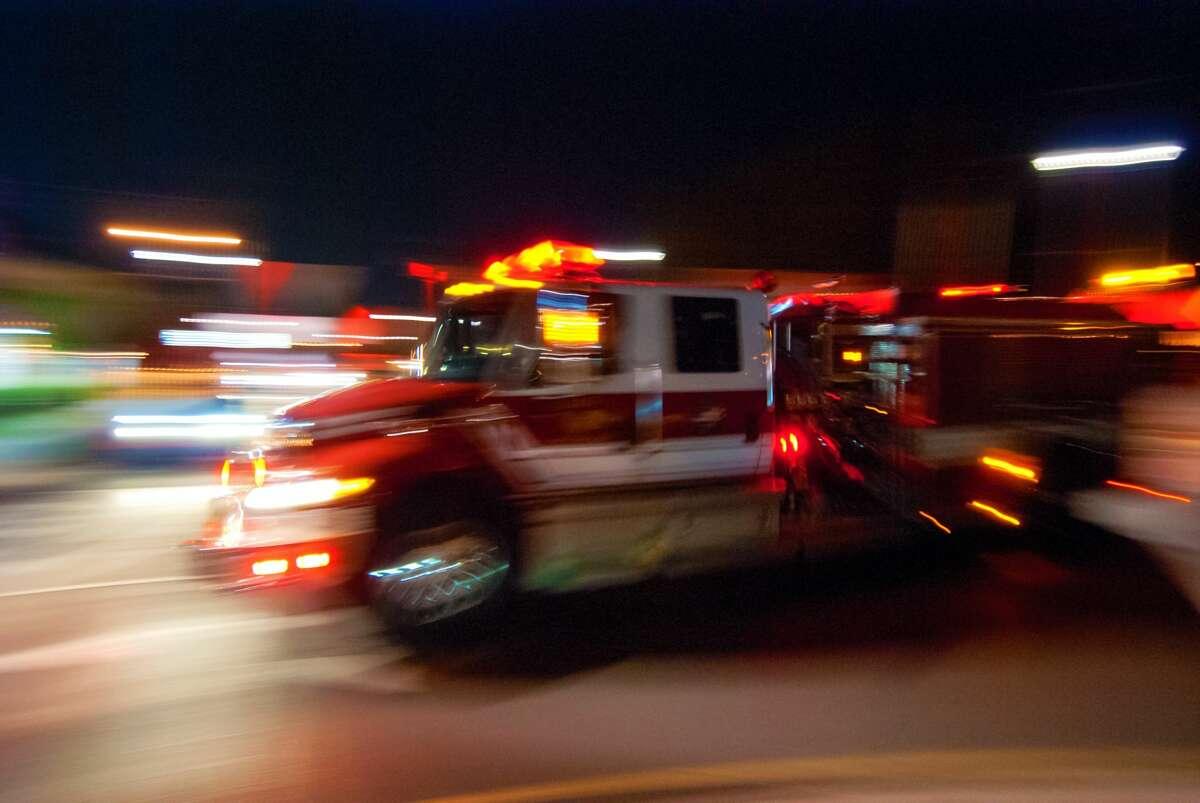 A firetruck responds to a call.