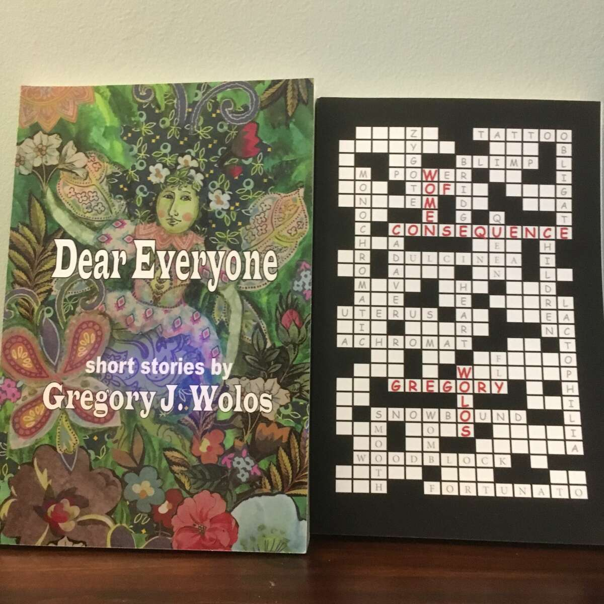 """Two of Greg Wolos' short story collections. His third, """"The Thing About Men,"""" will be published in the fall."""
