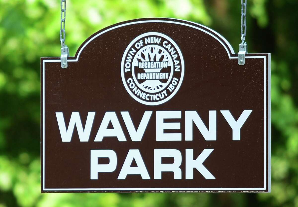 A file photo of the Waveny Park sign in New Canaan, Conn.