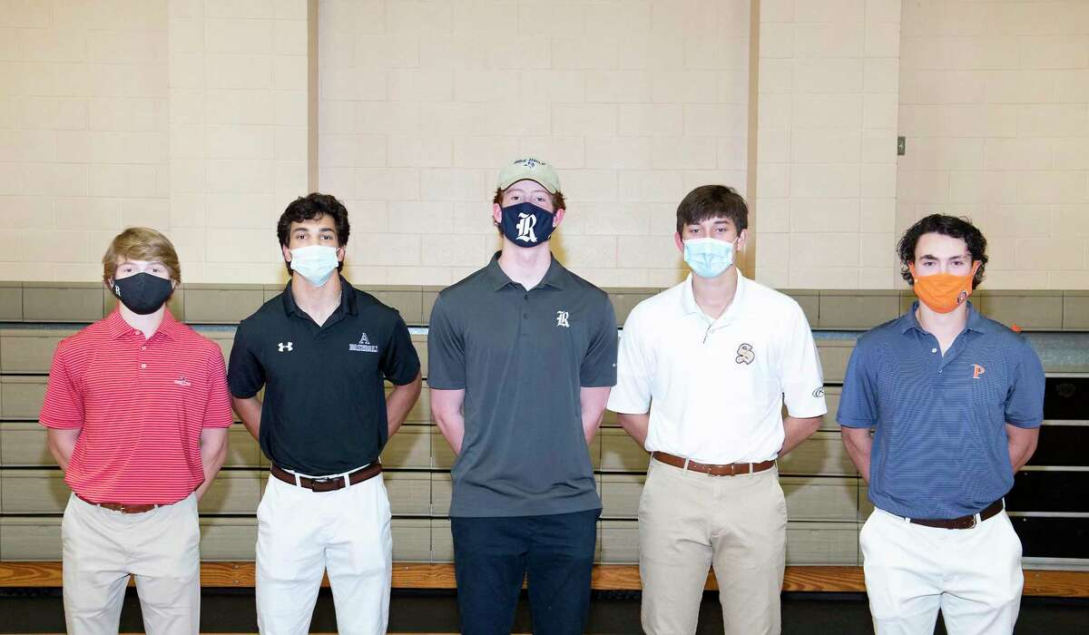 Five Kinkaid baseball players (left to right: Corbin Kinder, Christian Limon, David Shaw, Matthew Munn, Blake Pou) celebrated signing their National Letters of Intent at a ceremony at the school on the evening of Feb. 4
