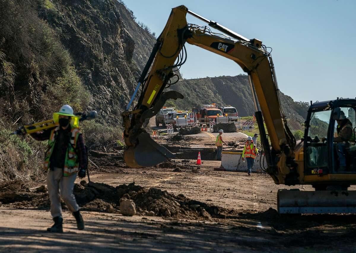Caltrans and constructions crews work on the collapsed section of Highway 1 along the Big Sur coast.