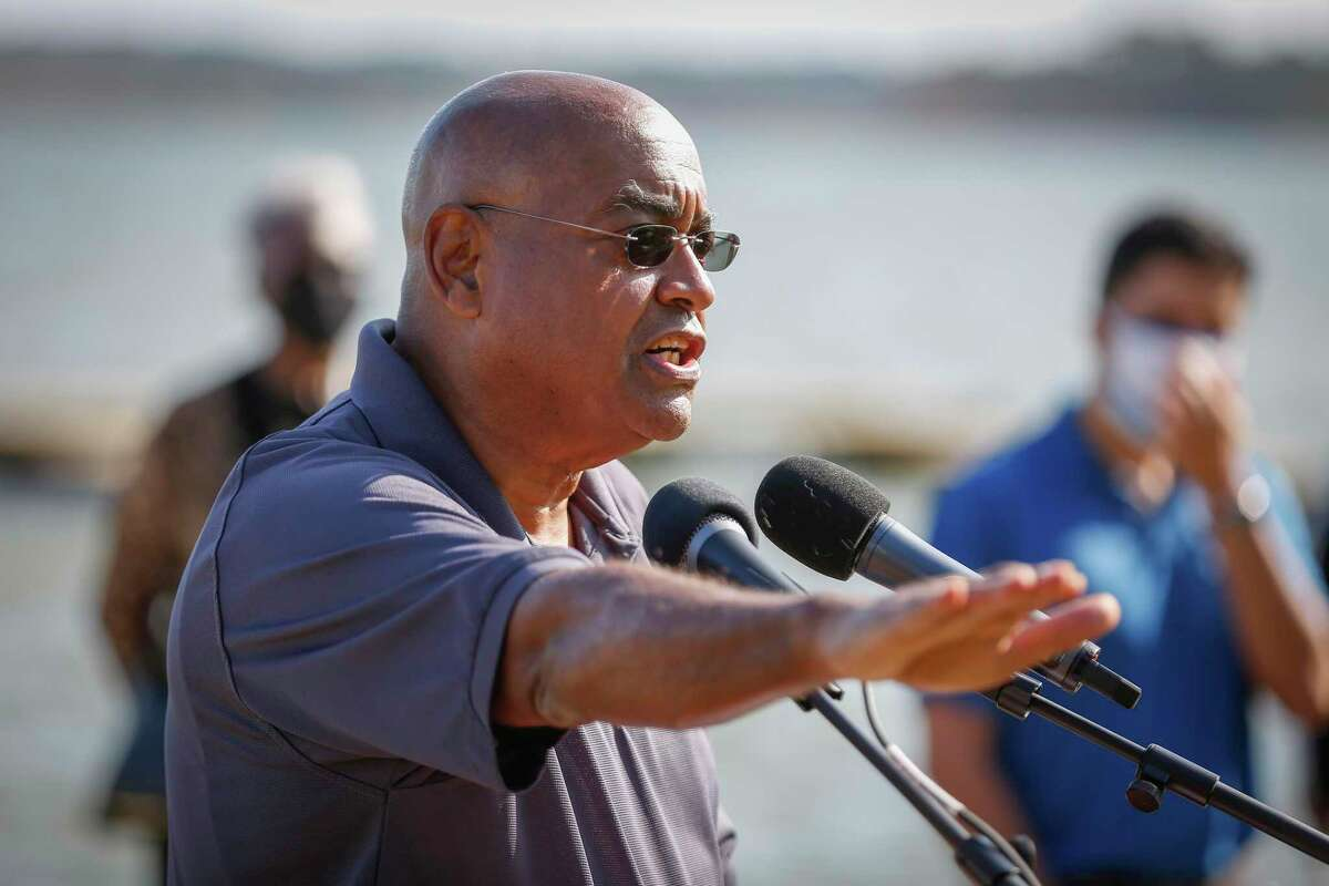 Harris County Commissioner Rodney Ellis, shown here in November 2020, is one of several lawmakers seeking to get the name of Negrohead Lake in Baytown changed. Ellis shepherded a bill through the Texas Senate in 1991 requiring the names of 20 geographic locations and features that included the word Negro be changed.