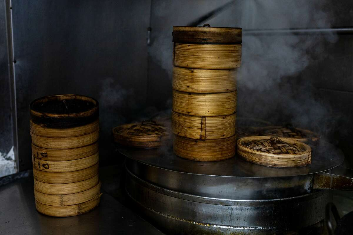Barbecue pork buns are cooked in bamboo steamers at Hang Ah Tea Room in San Francisco. The restaurant still uses the original 100-year-old recipe.