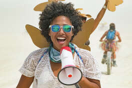 Favianna Rodriguez, an artist and activist who is a member of the Que Viva Burning Man camp and outspoken advocate for the Black community at the event.