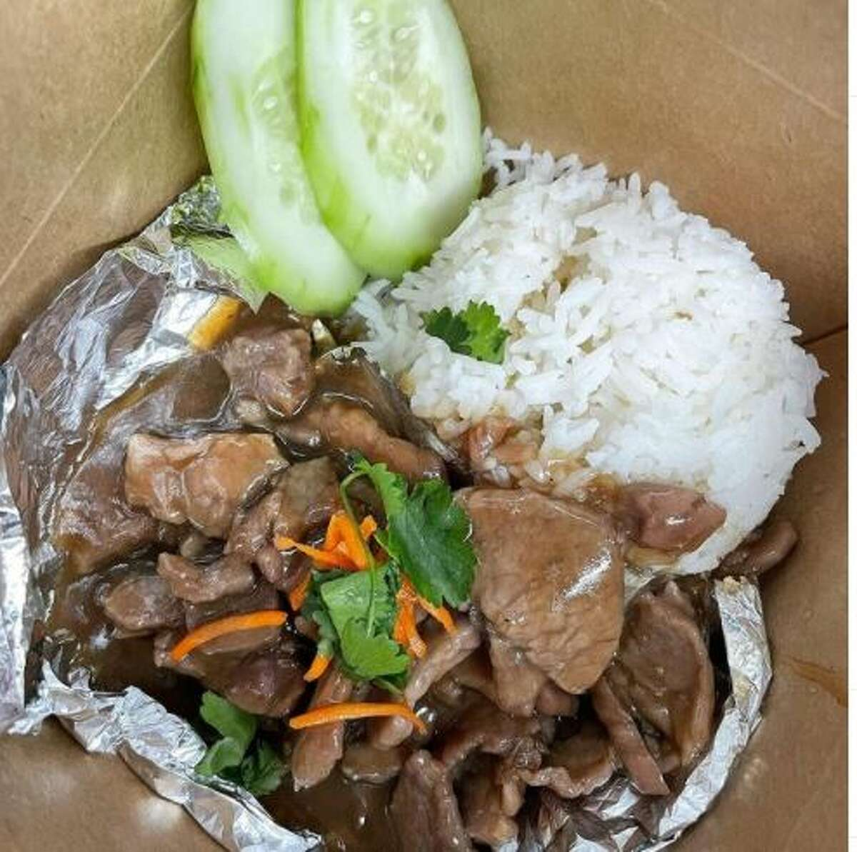 Customers can expect street Thai food, like fried rice, sweet pork (pictured), grilled pork, grilled beef, beef massaman curry and pad woonsen on the menu. Chaisittisinsuk said her Thai style omelet (Khao Khai Jiao) is something unique on her menu, as she says most restaurants don't have it. The omelet is topped with cilantro, served with jasmine rice, Thai Sriracha sauce and sliced cucumbers.