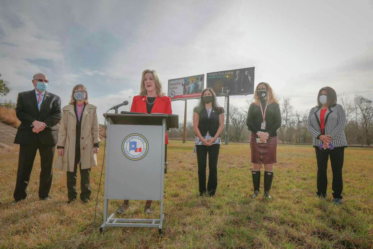 Harris County District Clerk Marilyn Burgess (at podium) held a press conference to launch an outreach campaign to increase jury participation in Harris County Monday, Feb. 8, 2021, in Houston.