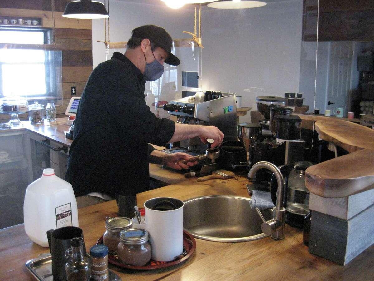 Owner Jason Wallengren brewing coffee at Bantam's Krafted Brew Lab.