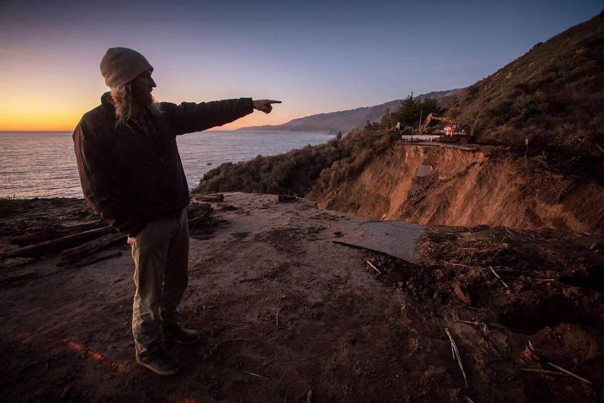 Hadley Hargrove at the site of a washout on Highway 1 near Rat Creek on Thursday, Feb. 5, 2020.