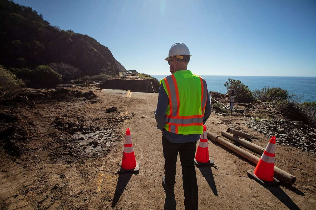 Kevin Drabinski, a public information officer with Caltrans, at the site of a washout on Highway 1 near Rat Creek on Thursday, Feb. 5, 2020. The portion of the highway closed since the washout reopened Friday.
