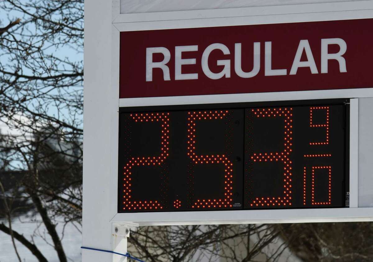 The price for a gallon of regular gasoline is displayed at the Stewart's Shops store at Albany Shaker and Everett roads on Monday, Feb. 8, 2021, in Colonie, N.Y. Gas prices are spiking thanks to production cutbacks and early signs of economic recovery. (Will Waldron/Times Union)