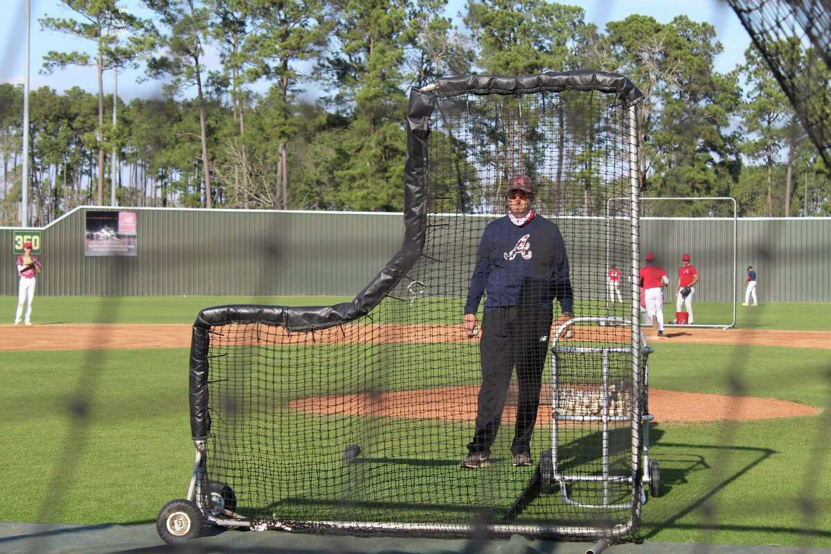 Atascocita coach Eric Matthews prepares to throw batting practice to his players.
