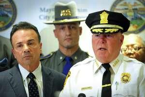"Former Bridgeport Police Chief ""A.J."" Perez speaks at a news conference with Mayor Joe Ganim."