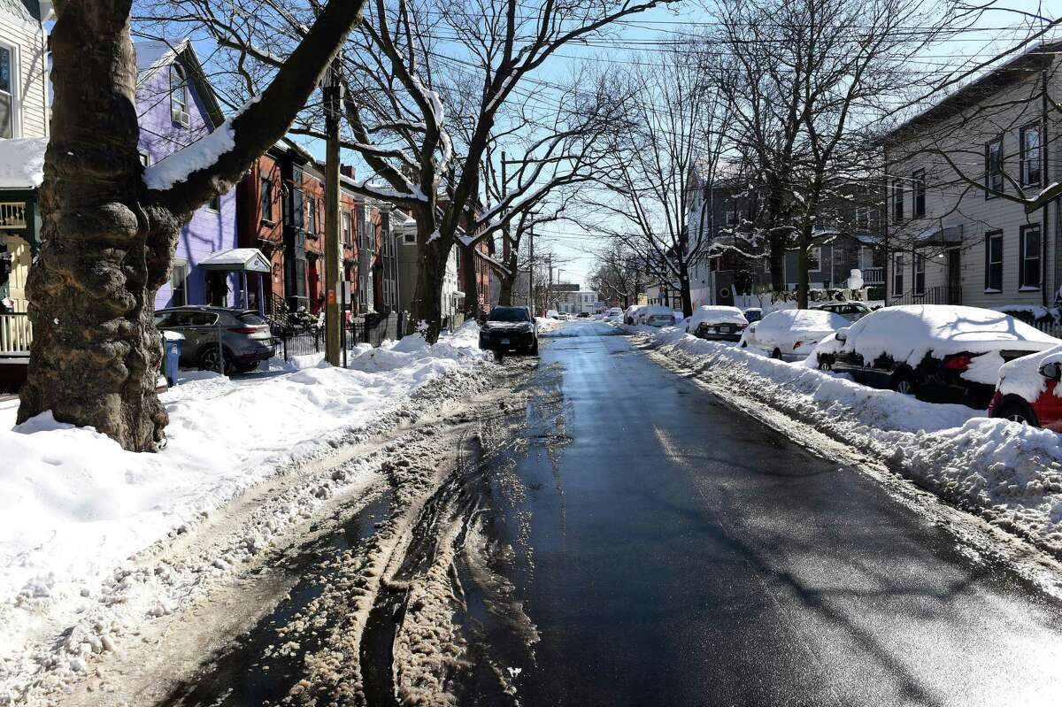 Lawrence Street in New Haven photographed on Feb. 8, 2021, where Yale School of the Environment student Kevin Jiang was killed on Feb. 6, 2021.