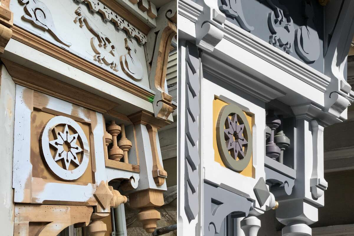 Photos during construction (left) and after (right) of newly installed custom details added to a Victorian home in Noe Valley restored by Skeeter Jones in San Francisco on Feb. 5, 2021. For more than 40 years, Jones has specialized in restoring the facades of old Victorian homes.