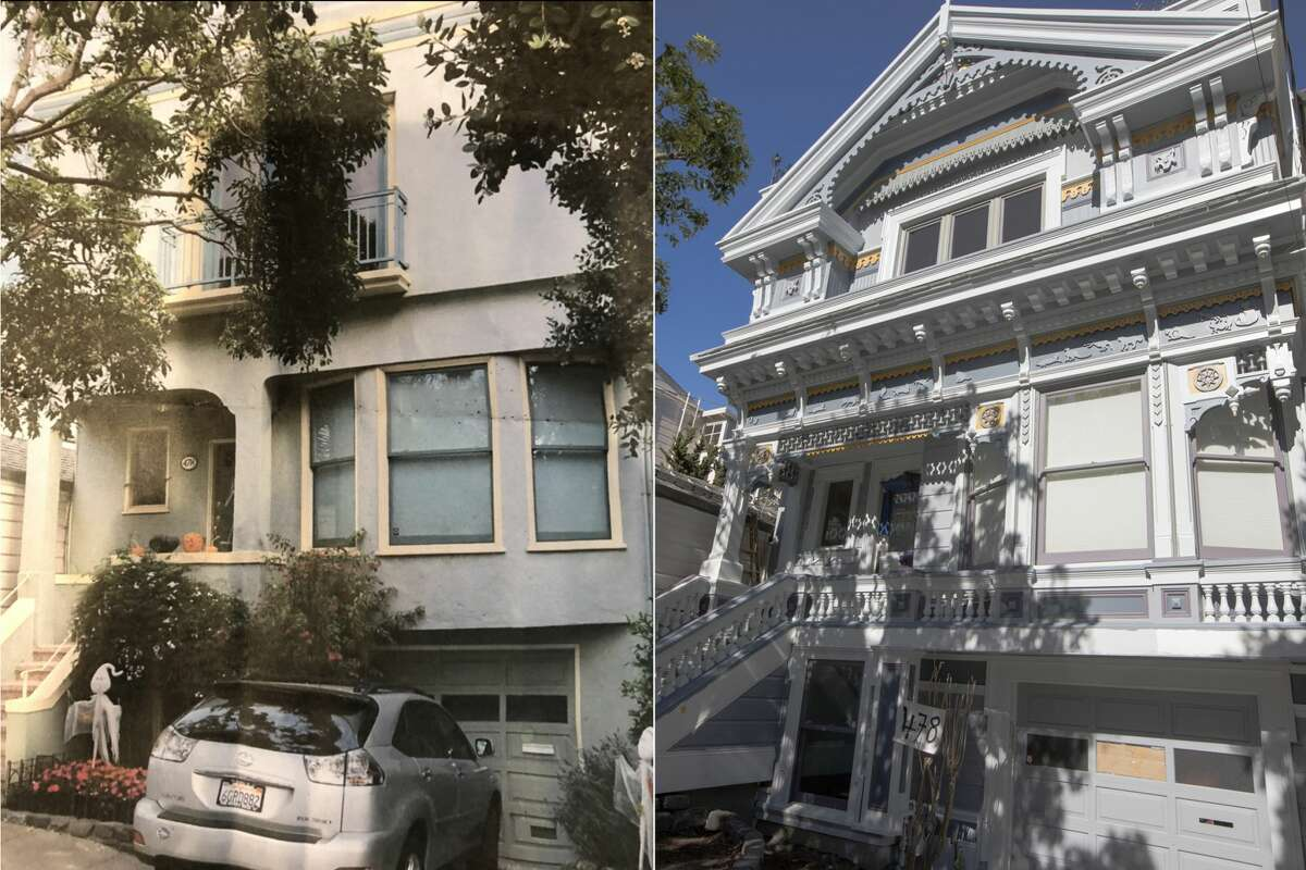 The before (left) and after (right) of an exterior of a Victorian home in Noe Valley restored by Skeeter Jones in San Francisco on Feb. 5, 2021. For more than 40 years, Jones has specialized in restoring the facades of old Victorian homes.