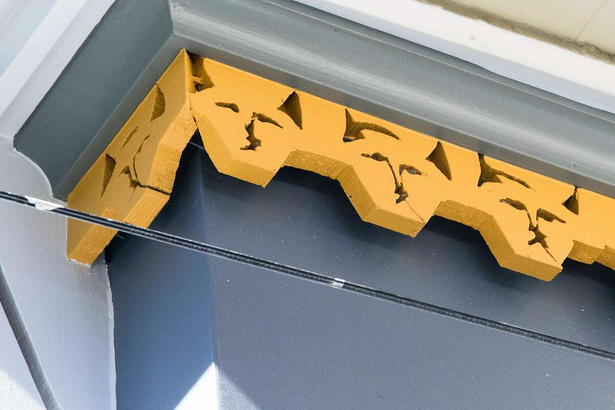 Some of the newly installed custom details added to a Victorian home in Noe Valley restored by Skeeter Jones in San Francisco on Feb. 5, 2021. For more than 40 years, Jones has specialized in restoring the facades of old Victorian homes.