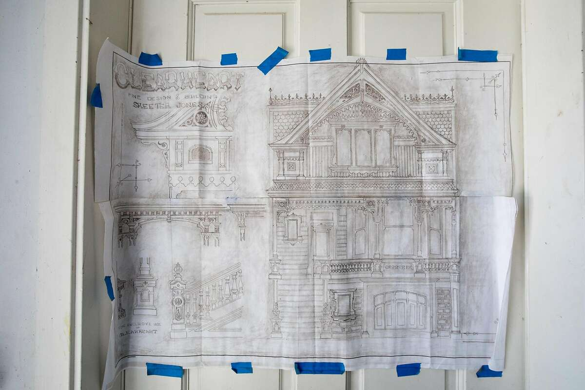 The original design plans and drawings of a Victorian home in Noe Valley restored by Skeeter Jones in San Francisco on Feb. 5, 2021. For more than 40 years, Jones has specialized in restoring the facades of old Victorian homes.