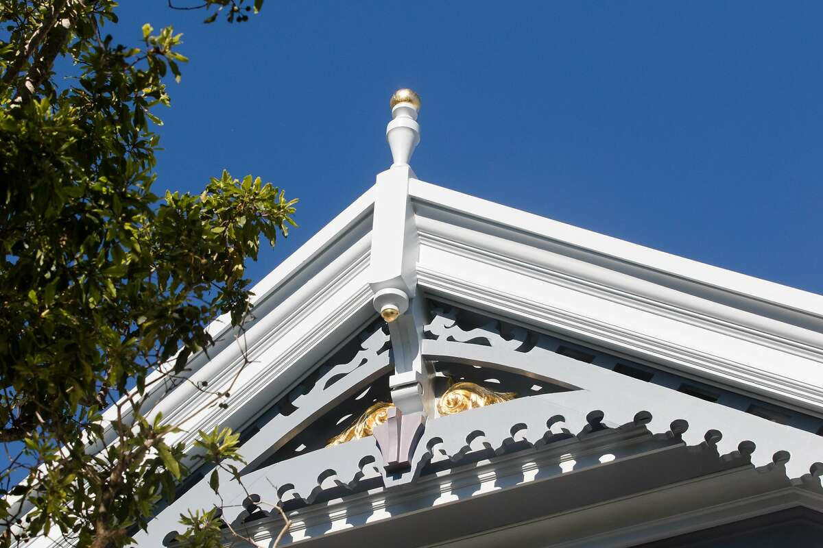 A newly installed gable on a Victorian home in Noe Valley restored by Skeeter Jones in San Francisco on Feb. 5, 2021. For more than 40 years, Jones has specialized in restoring the facades of old Victorian homes.
