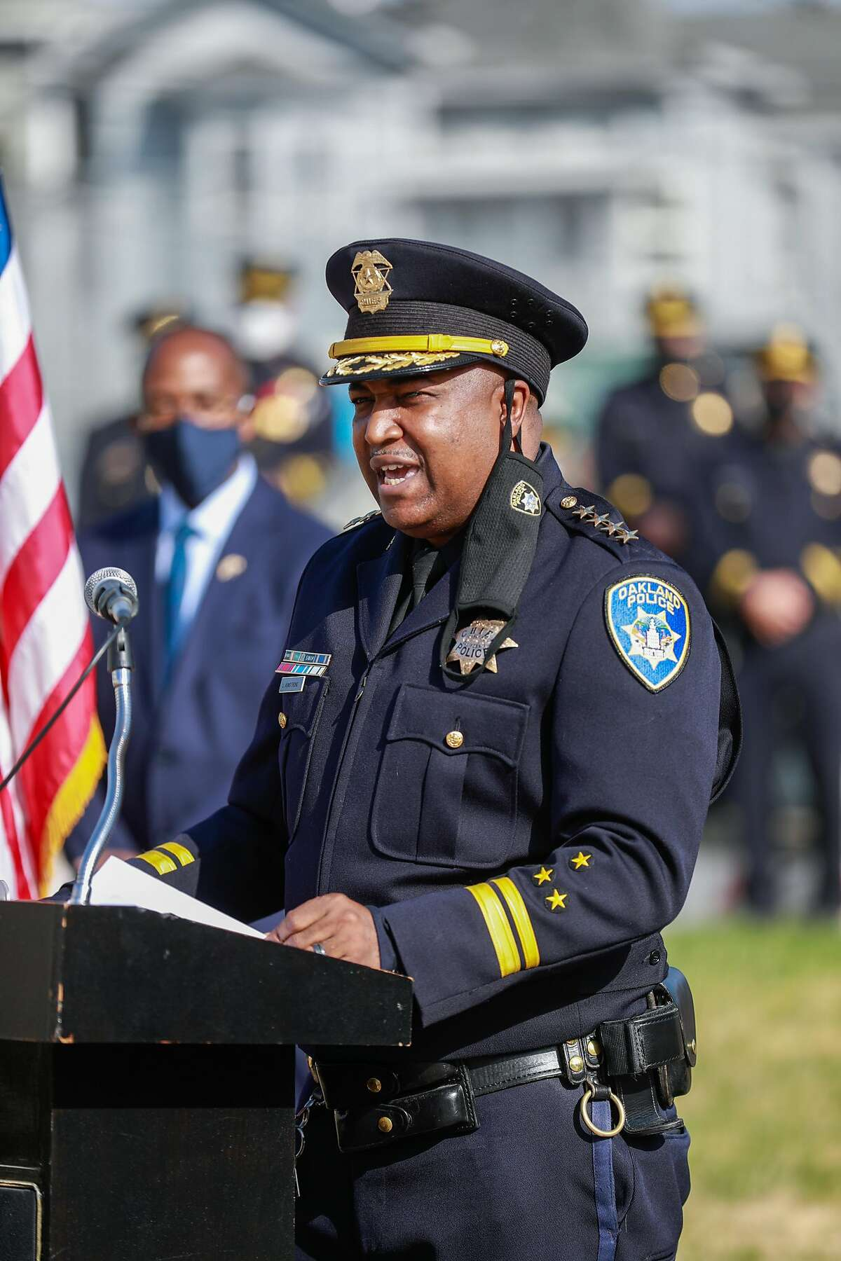 Oakland Police Chief LeRonne Armstrong speaks after being sworn in at McClymonds High School on Feb. 8, 2021.