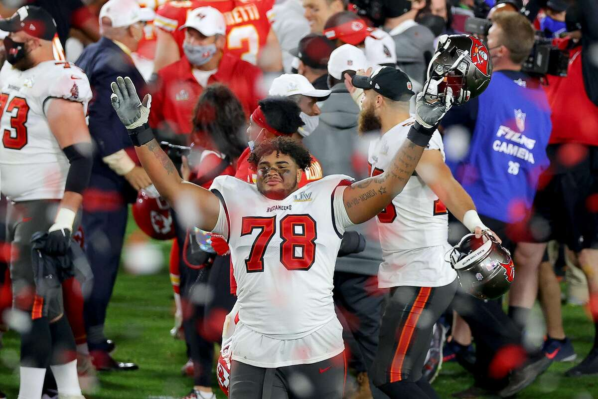 TAMPA, FLORIDA - FEBRUARY 07: Tristan Wirfs #78 of the Tampa Bay Buccaneers celebrates after winning Super Bowl LV at Raymond James Stadium on February 07, 2021 in Tampa, Florida. (Photo by Kevin C. Cox/Getty Images)