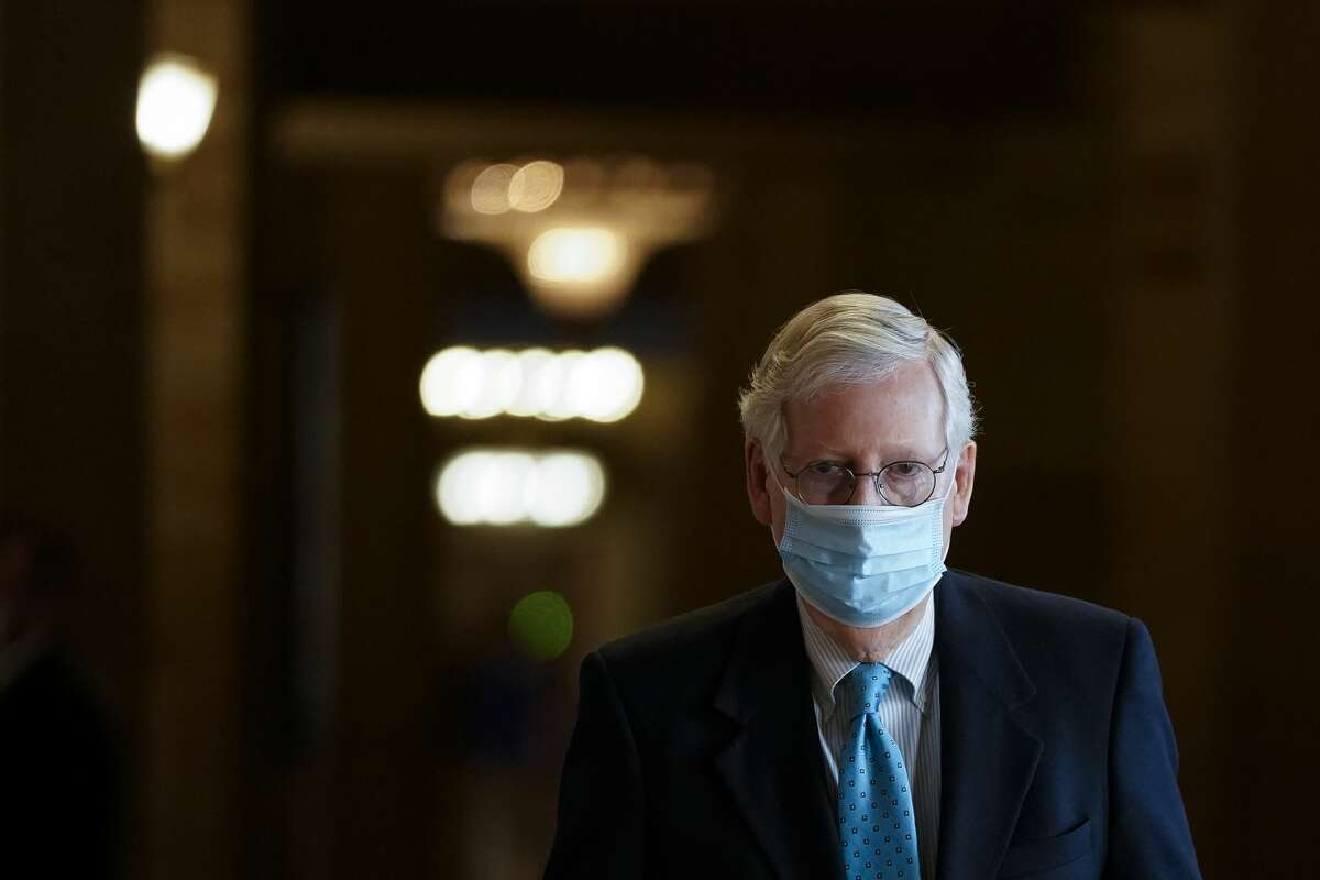 """FILE. Letter writer says, 'The Republicans of our Senate would not know what impartial justice would be. As Senate Minority Leader Mitch McConnell blatantly proclaimed before the trial was finished, """"I will vote to acquit."""" This is impartial? By stating this, he was telling the rest of his flock how they were to vote.' (Drew Angerer/Getty Images)"""