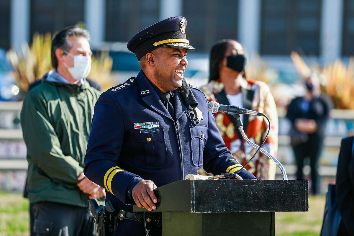 Oakland Police Chief LeRonne Armstrong speaks after being sworn in as the new chief of the police department at McClymonds High School on Monday, Feb. 8, 2021 in Oakland, California.