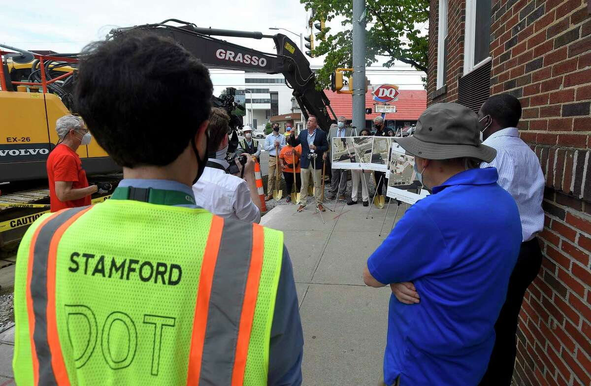 Jim Travers. Bureau Chief for the City of Stamford Transportation, Traffic and Parking, announces with Mayor David Martin a $1.4 million pedestrian safety project along Summer Street in downtown Stamford, Connecticut on July 23, 2020.