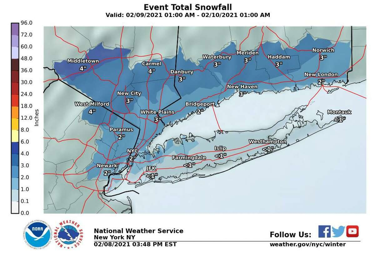 Expected snowfall totals for the tri-state area early this week