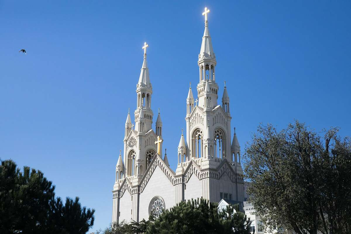 The spires of Saint Peter and Paul Church in the North Beach neighborhood of San Francisco, Calif., on Feb. 5, 2021.