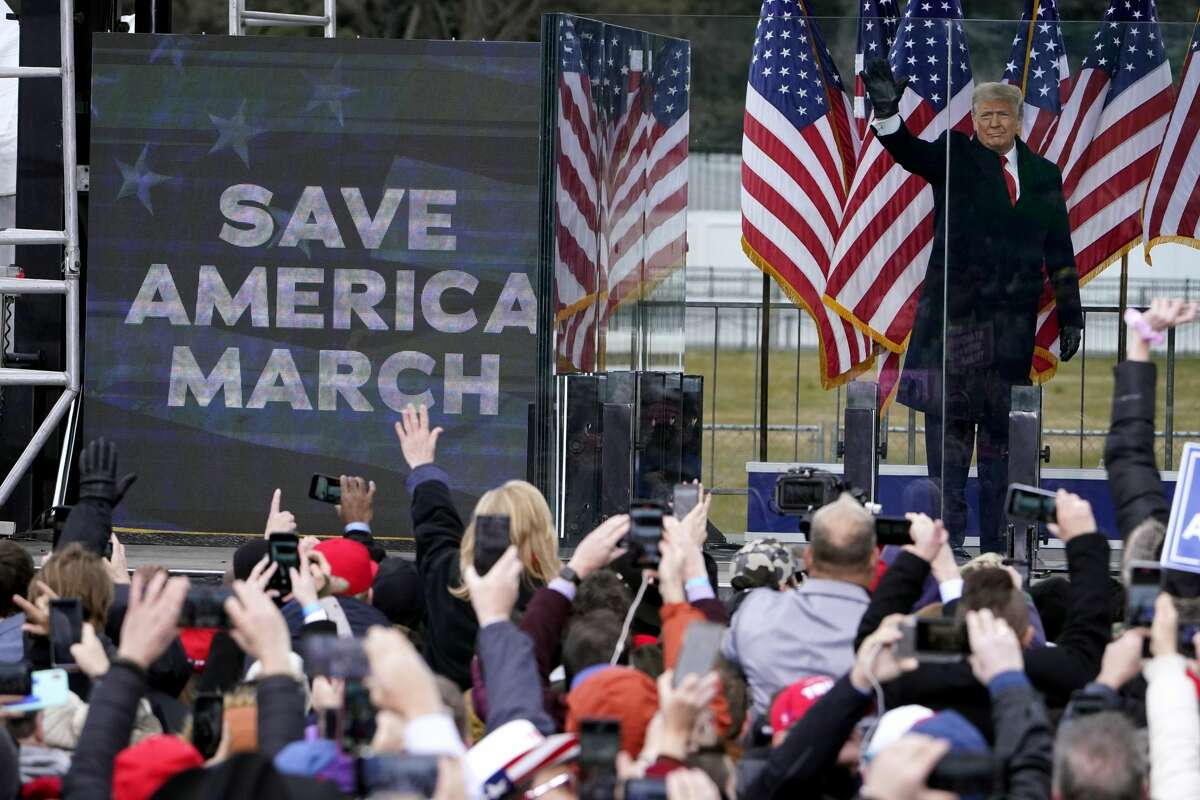 Donald Trump arrives to speak at a rally in Washington on Jan. 6. Arguments begin Tuesday in his second impeachment trial on allegations that he incited the violent mob that stormed the U.S. Capitol that day. (AP Photo/Jacquelyn Martin)