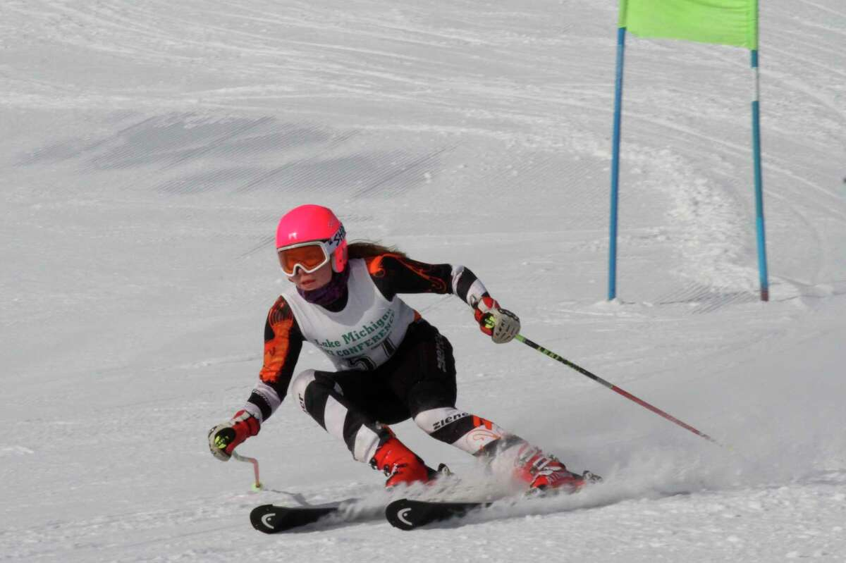 Aada Tukiainen will represent the Onekama girls at skiing state finals thanks to a pair of fifth place finishes at regionals on Monday. (News Advocate file photo)