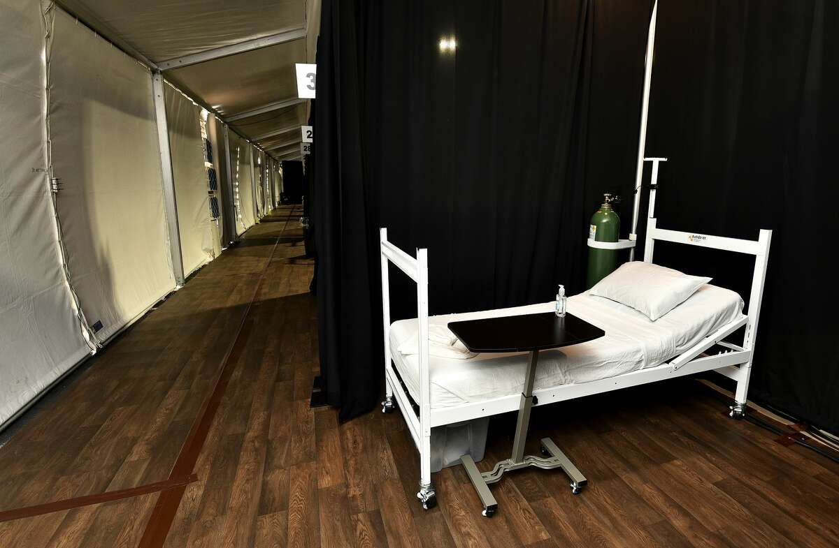 A view of one of the beds available at the Laredo TDEM COVID-19 Alternate Care Site, Monday, Feb. 8, 2021, outside the UT Health Science Center at Laredo.