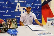 Southside High School's Caleb Camarillo after signing with the Air Force Academy in the Southside Gym on Feb. 3. Camarillo is only the third football player (second this school year) in Southside history to sign a scholarship agreement with a FBS (Division I) program.