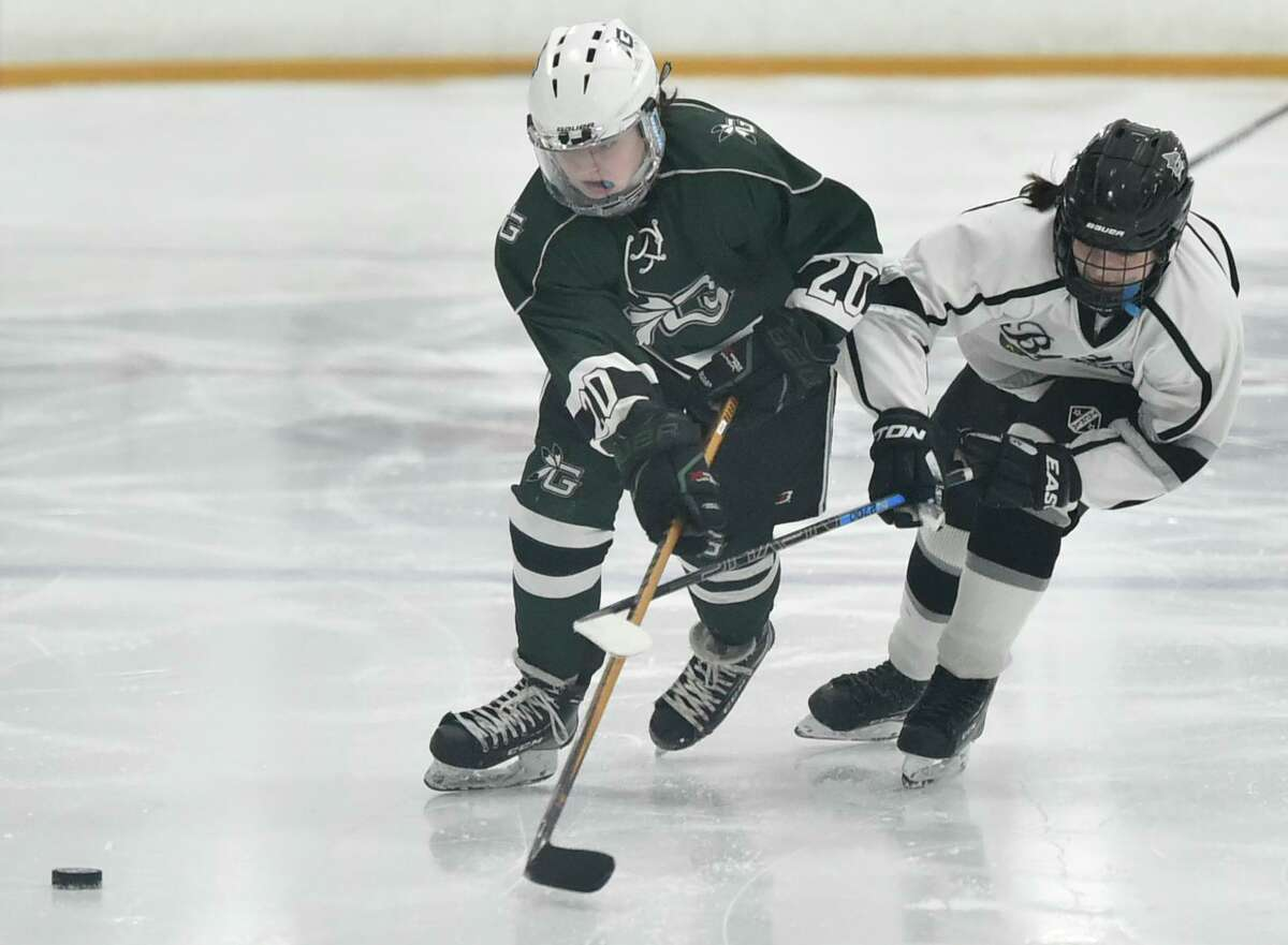West Haven, Connecticut - Saturday, February 29, 2020: Guilford vs. The Blades of Amity/New Haven. Cheshire during the 2020 Southern Connecticut Conference SCC Girls Ice Hockey Championship game Saturday at Bennet Rink in West Have