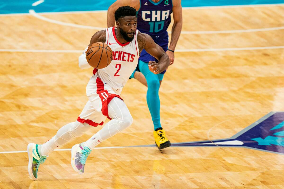 David Nwaba #2 of the Houston Rockets brings the ball up court against the Charlotte Hornets during the second quarter at Spectrum Center on February 08, 2021 in Charlotte, North Carolina.