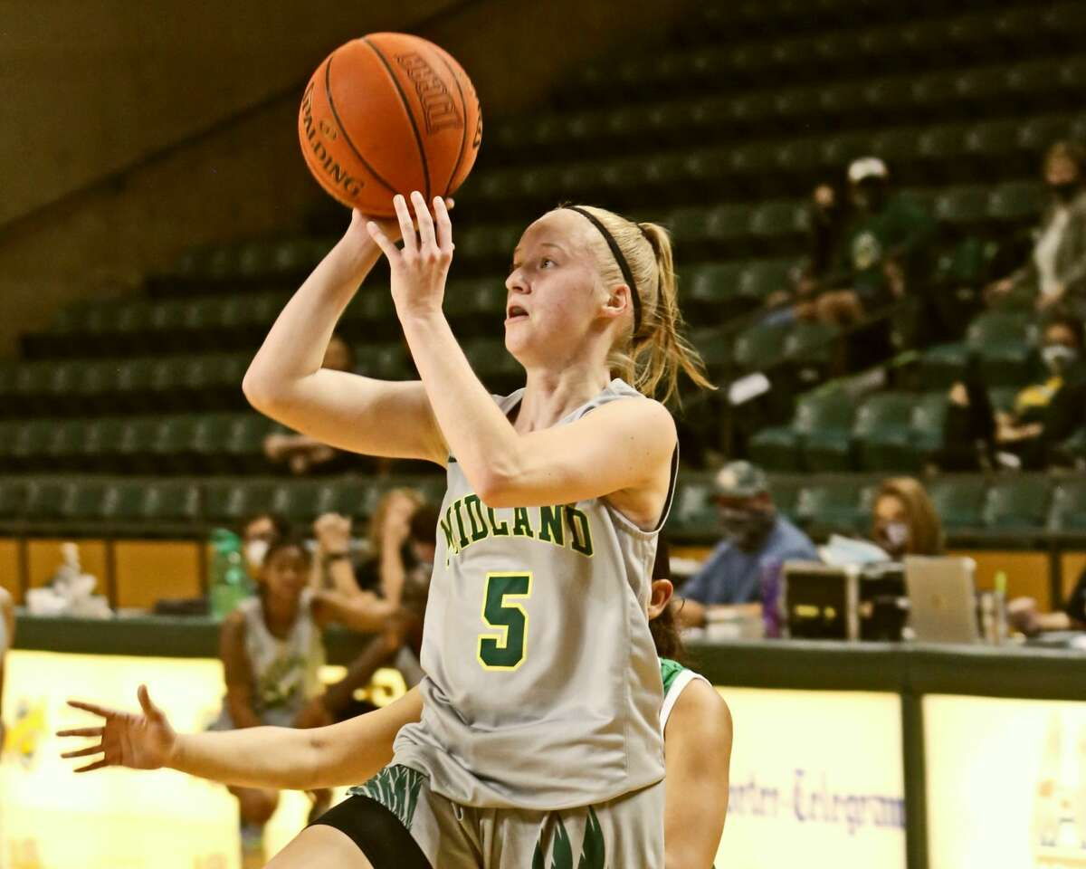 Midland College guard Kim Schrama scores on a baseline jump shot on Tuesday night at Chaparral Center