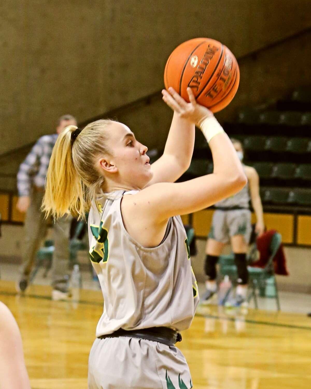 Midland College freshman Brooke Galvin shoots a 3-pointer versus Clarendon College