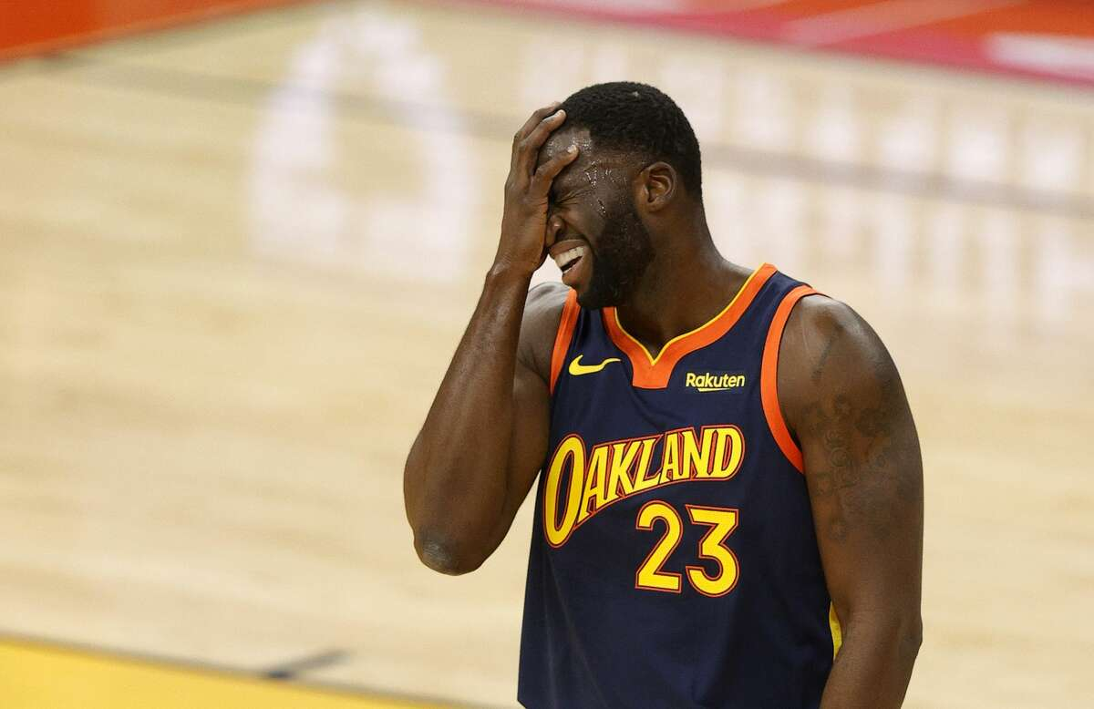 Draymond Green of the Golden State Warriors reacts after a bad pass against the Boston Celtics on Feb. 2, 2021.