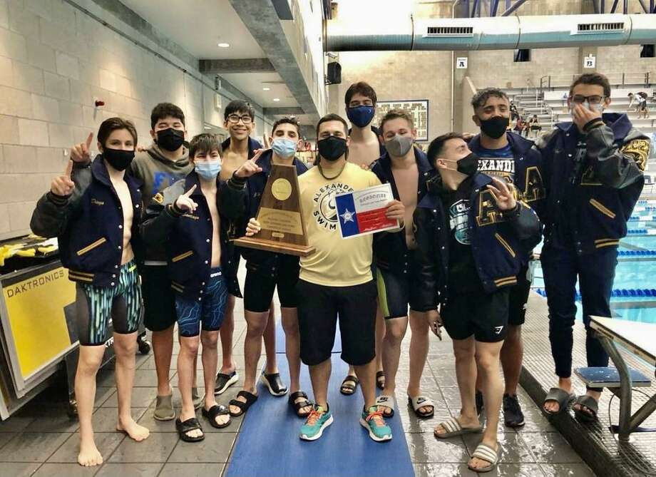 The Alexaner boys' swim team won the Bulldogs win Region VIII 6A Championship with 348 points. Photo: Courtesy