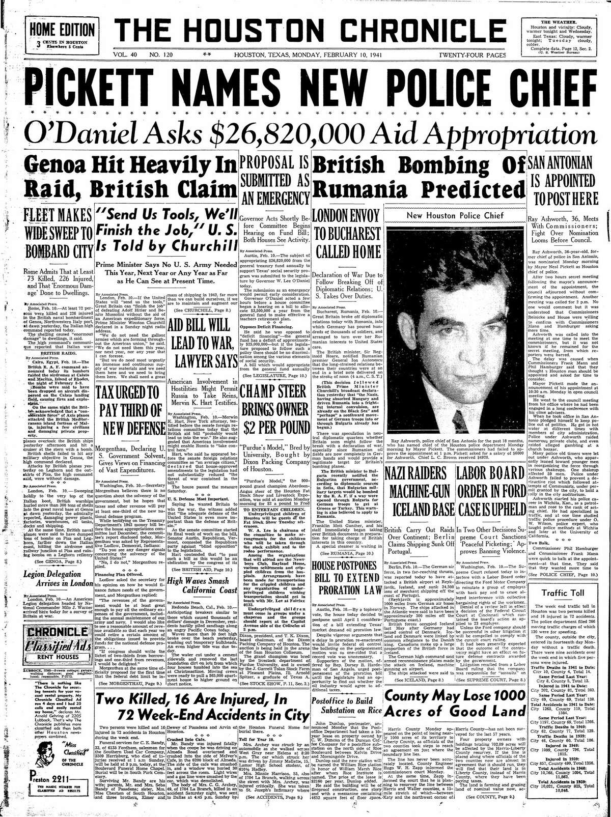 Houston Chronicle front page from Feb. 10, 1941.
