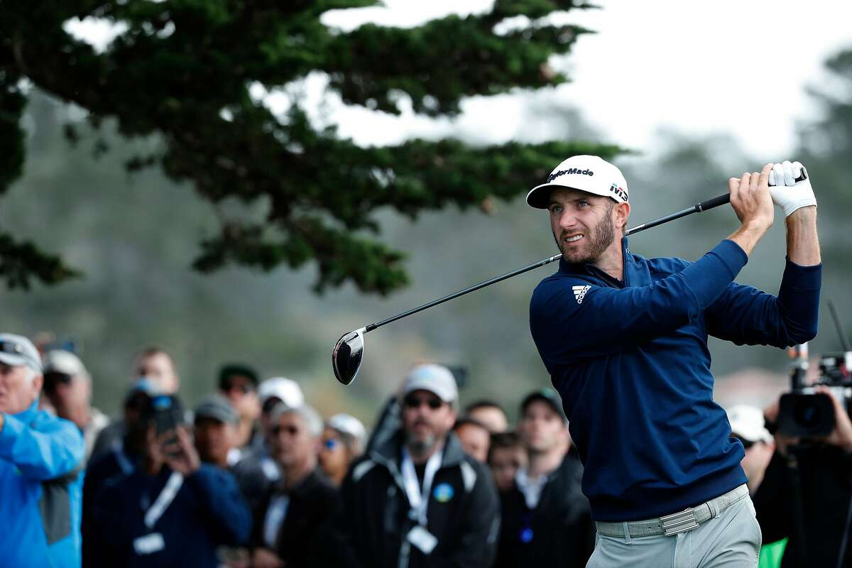 Dustin Johnson, tee shot on the 14th hole during the final round of the AT&T Pebble Beach Pro-Am on the Pebble Beach Golf Links in Pebble Beach, Calif., seen on Sunday Feb. 11, 2018.