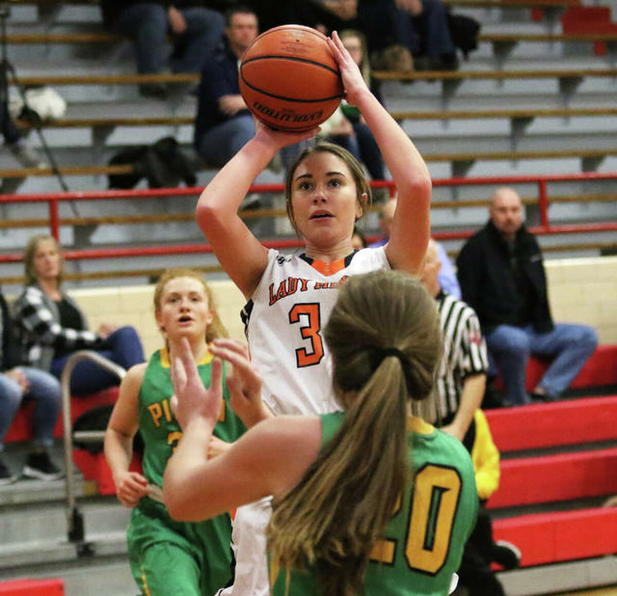 Gillespie's Keaton Link, shown taking a shot against Southwestern in a game last season, scored 13 points Monday night in the Miners' win over Auburn in Gillespie.